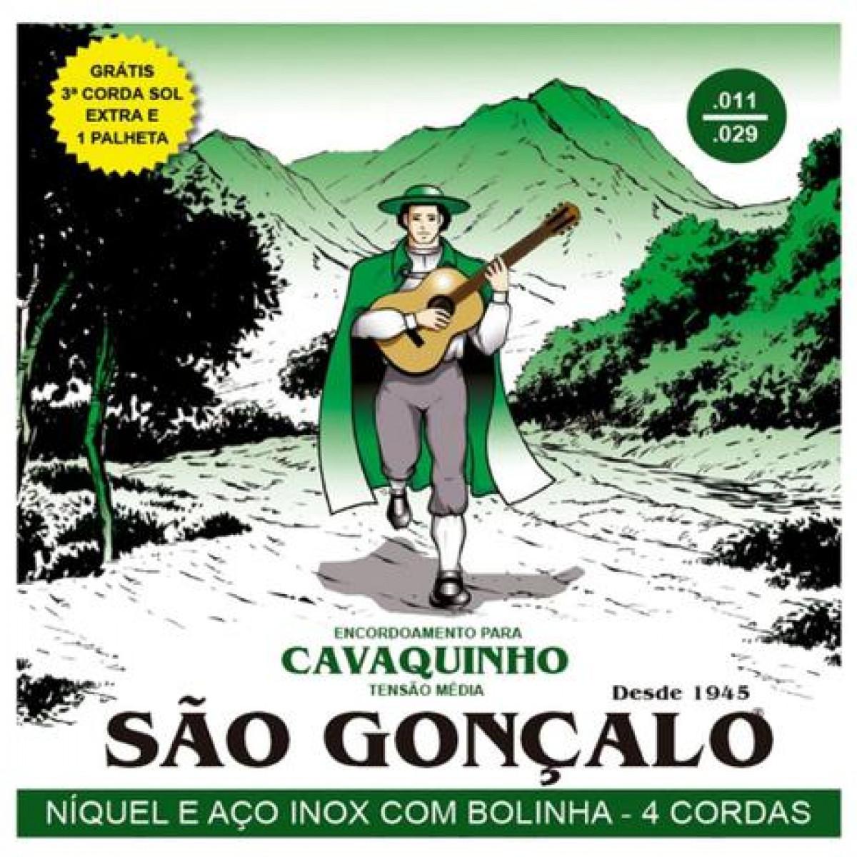 Encordoamento São Gonçalo Cavaco C/ Bolinha + 3ª corda extra + palheta