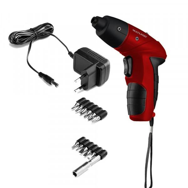 Parafusadeira Elétrica Multilaser Bivolt LED e Kit com 11 Bits - HO031