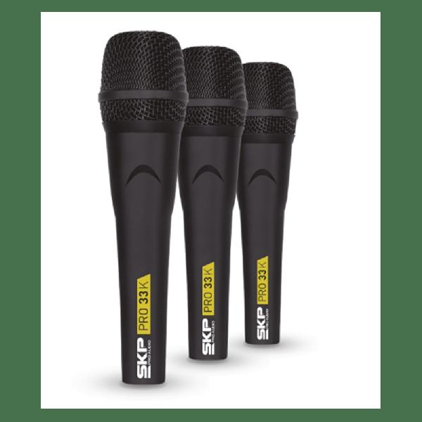 Kit com 3 Microfones Profissionais SKP Pro 33K