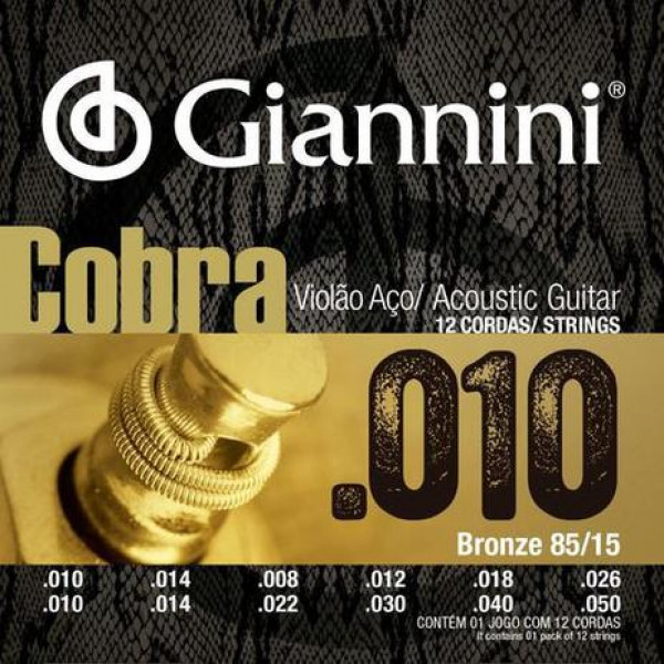 Encordoamento Giannini Cobra Violão Aço 12 cordas Bronze 85/15 Geef12m