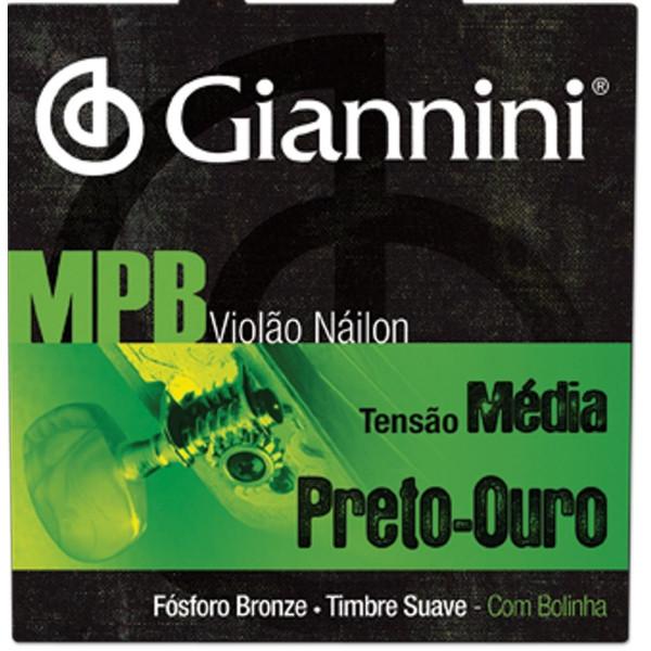 Encordoamento Giannini MPB Violão Nylon Preto-Ouro GENWBG