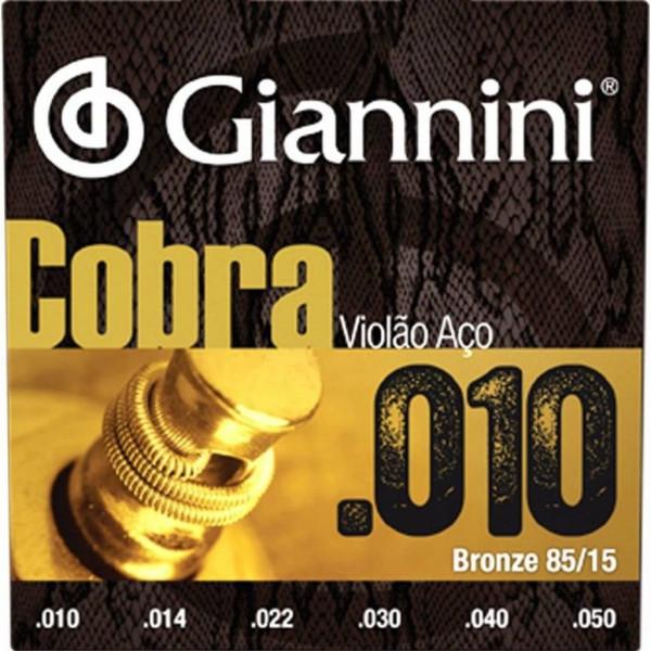 Encordoamento Giannini Cobra Violão aço 0.10 85/15 GEEFLE
